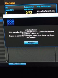 Pantalla de ganador de Fernando Pons para las WSOP 2016