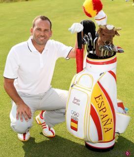 Sergio García, con su bolsa para Río 2016