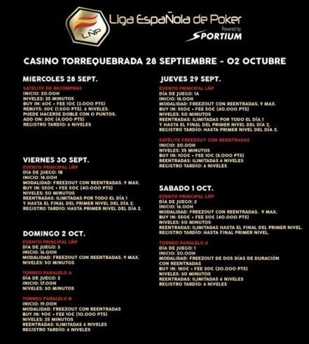 Calendario para la prueba LÑP Málaga 2016