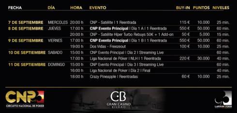Calendario del CNP Bilbao 2016