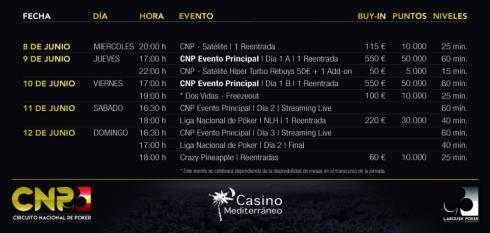 Calendario para el CNP Alicante 2016