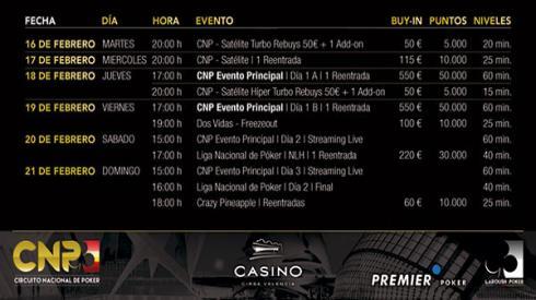 Calendario del CNP de Valencia 2016