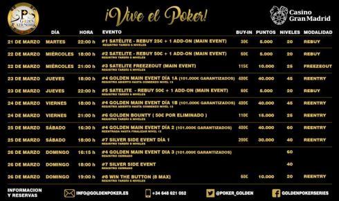 Programa para las Golden Poker Series