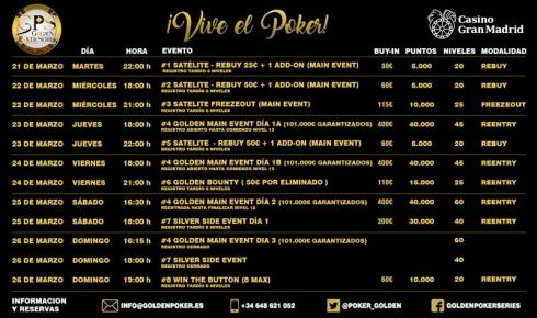 Programa para las Golden Poker Series