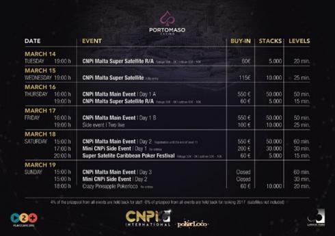 Calendario para el CNP Internacional en Malta