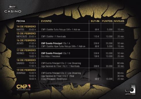 Calendario para el CNP Valencia 2017