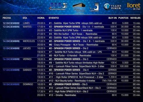 Calendario para las Spanish Poker Series 2016