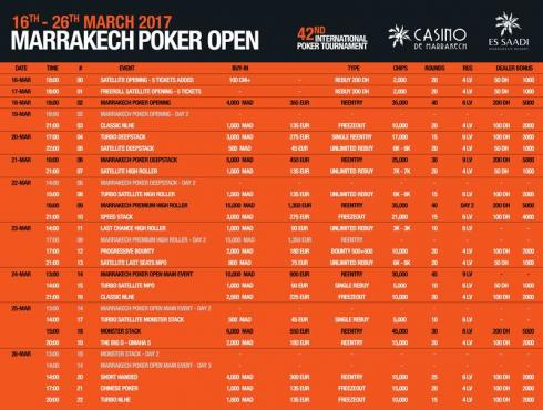 Calendario para el Marrakech Poker Open 2017