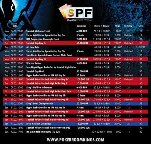 Programa del Spanish Poker Festival