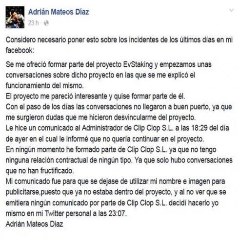 Adrián Mateos tuvo que explicar a través de su Facebook los pormenores